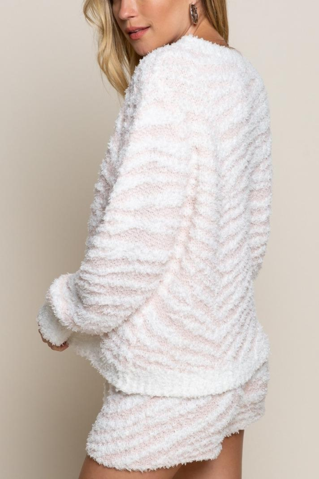 POL Berber Pink And White Zebra Pull Over - Front Full Image