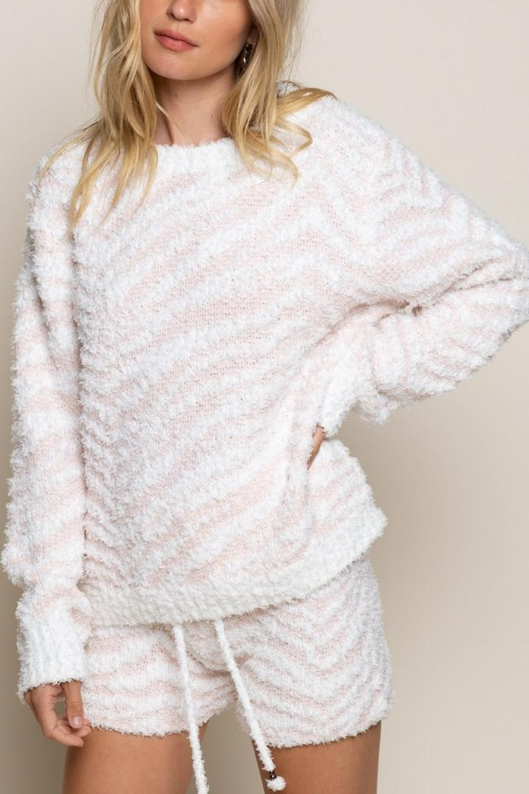 POL Berber Pink And White Zebra Pull Over - Main Image
