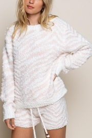 POL Berber Pink And White Zebra Pull Over - Front cropped