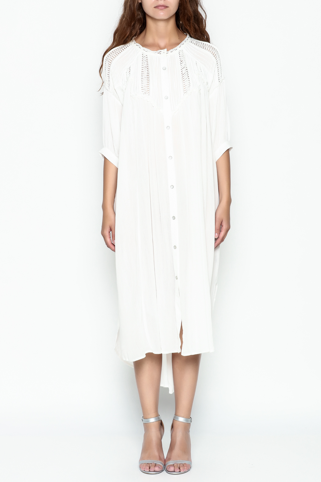 POL Pintuck Button Down Dress - Front Full Image