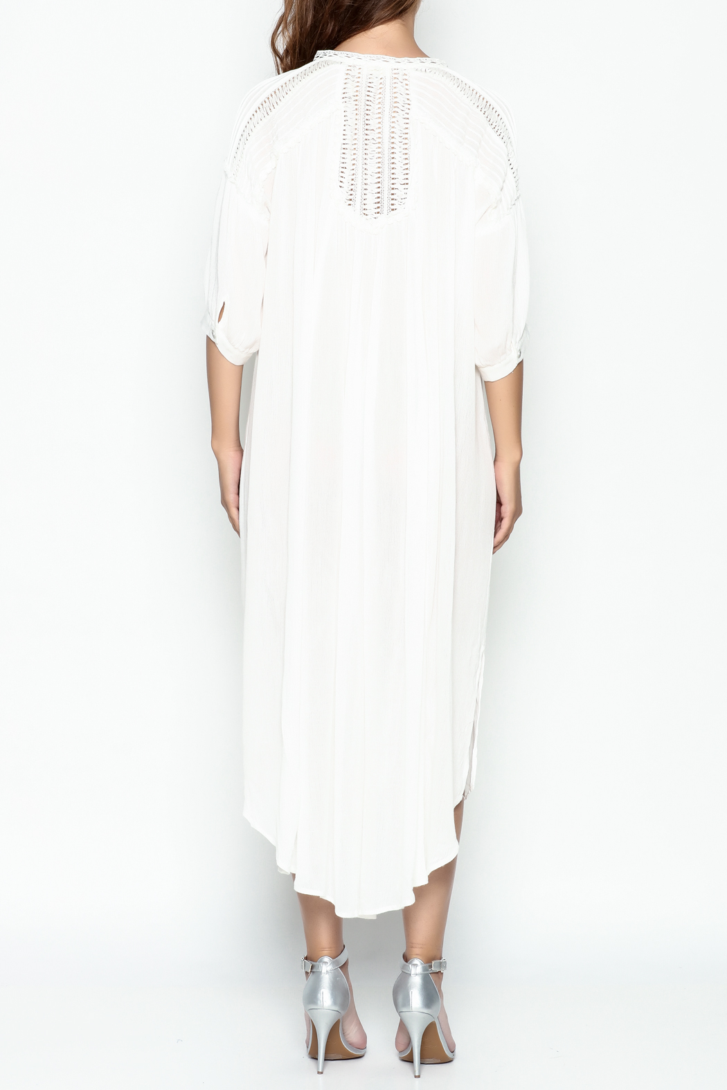 POL Pintuck Button Down Dress - Back Cropped Image