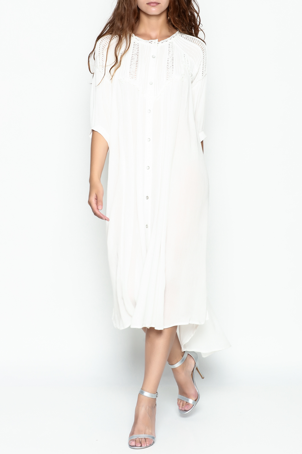 POL Pintuck Button Down Dress - Main Image