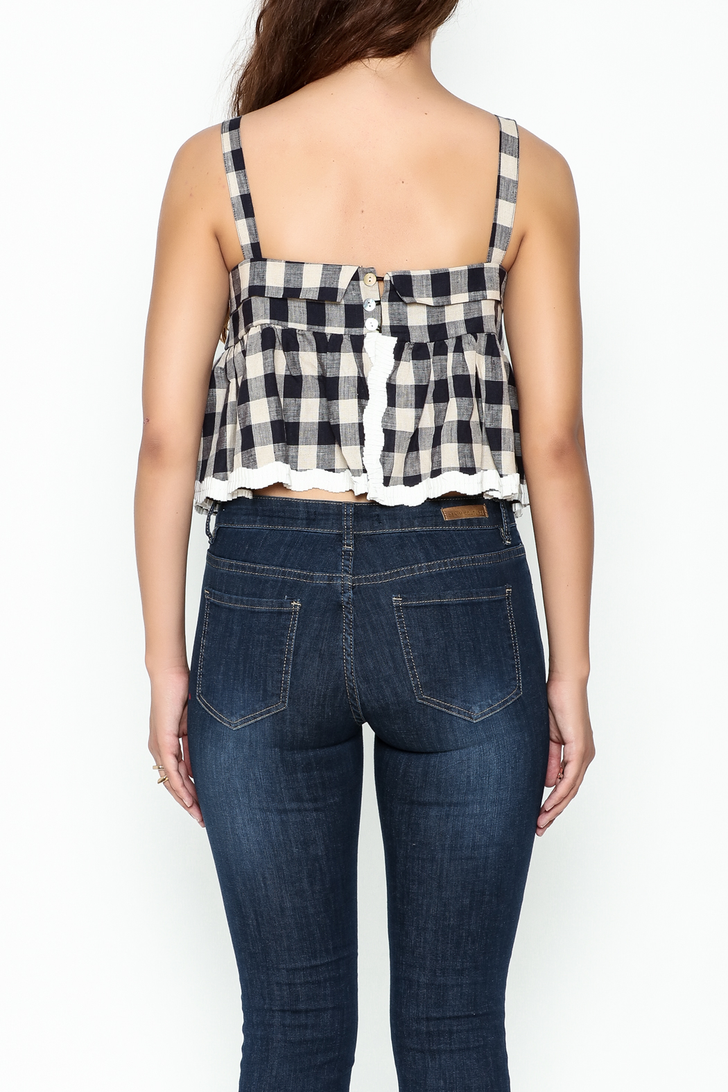 POL Plaid Crop Top - Back Cropped Image
