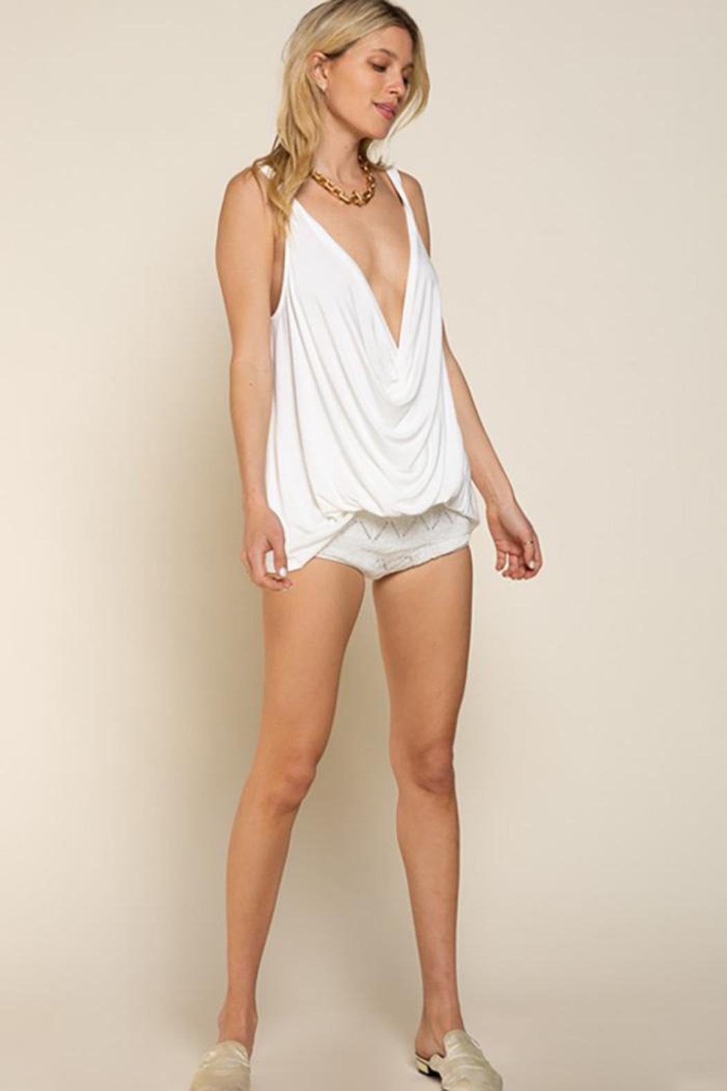 POL Plunging Twist Tank Top - Front Full Image