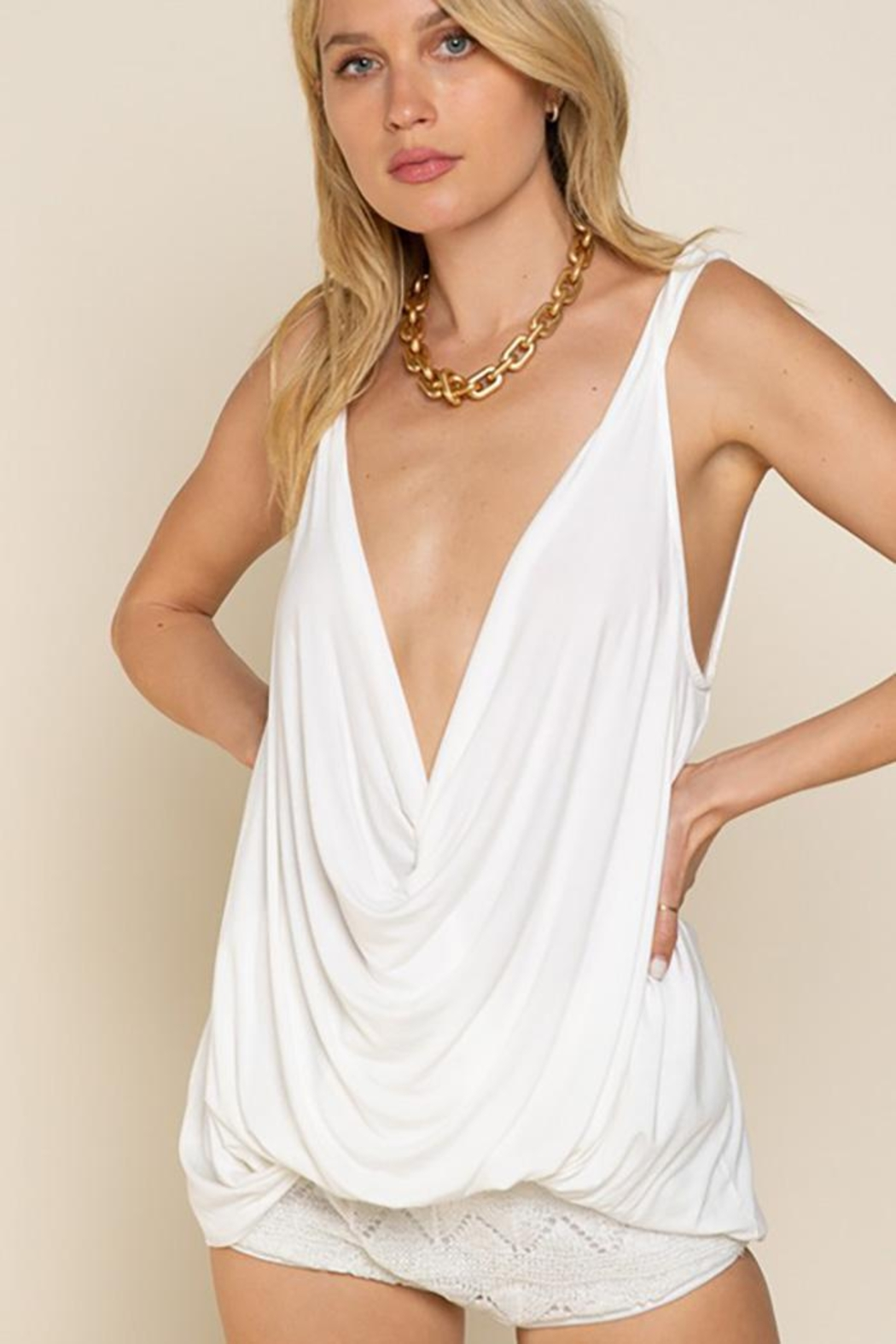 POL Plunging Twist Tank Top - Front Cropped Image