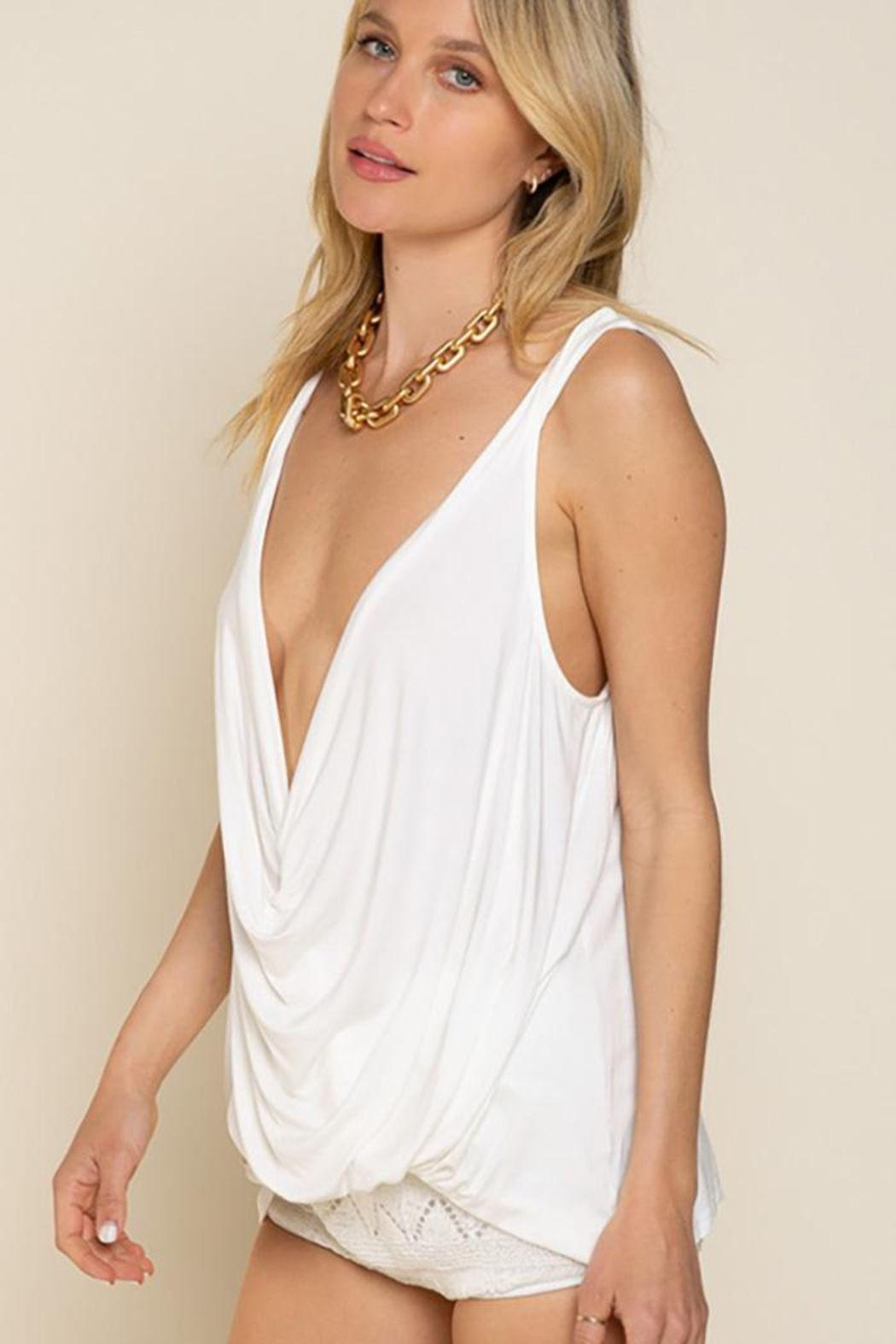 POL Plunging Twist Tank Top - Back Cropped Image