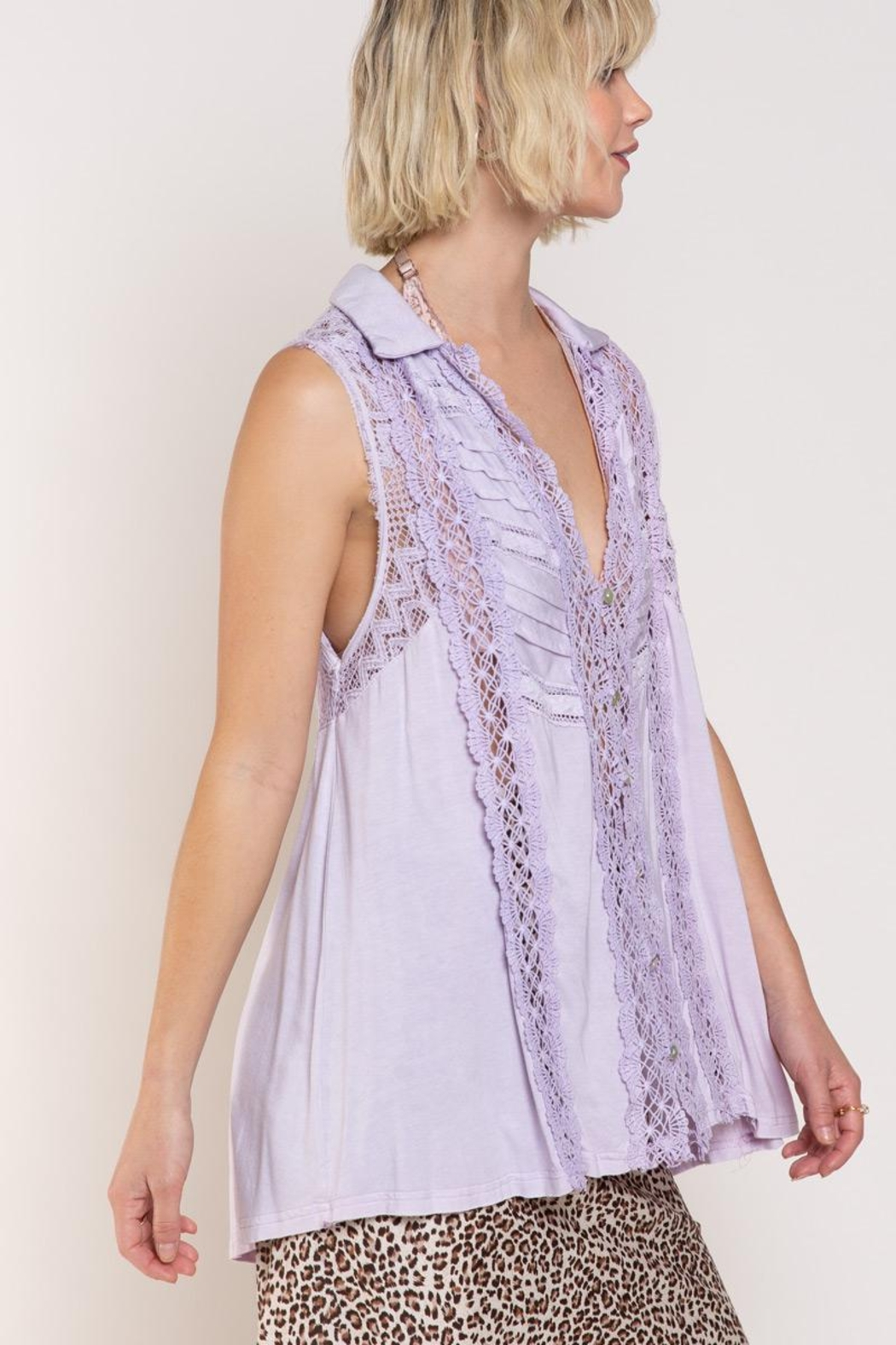 POL Relaxed Sleeveless Woven Top - Front Full Image