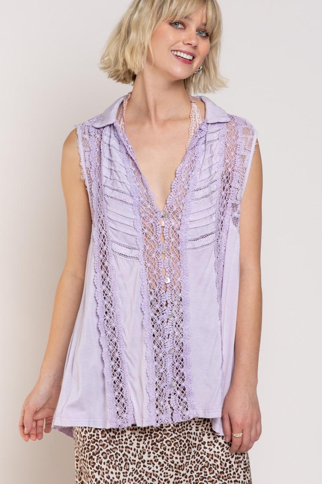 POL Relaxed Sleeveless Woven Top - Main Image
