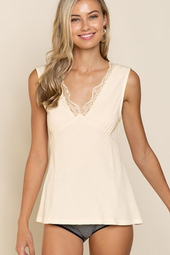 POL Scalloped Lace V Neck Knit Top - Product List Image