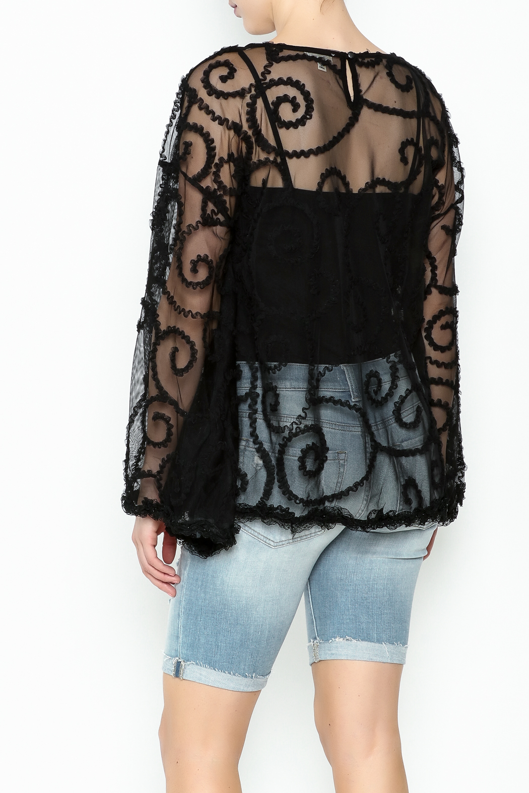 POL Sheer Paisley Top - Back Cropped Image