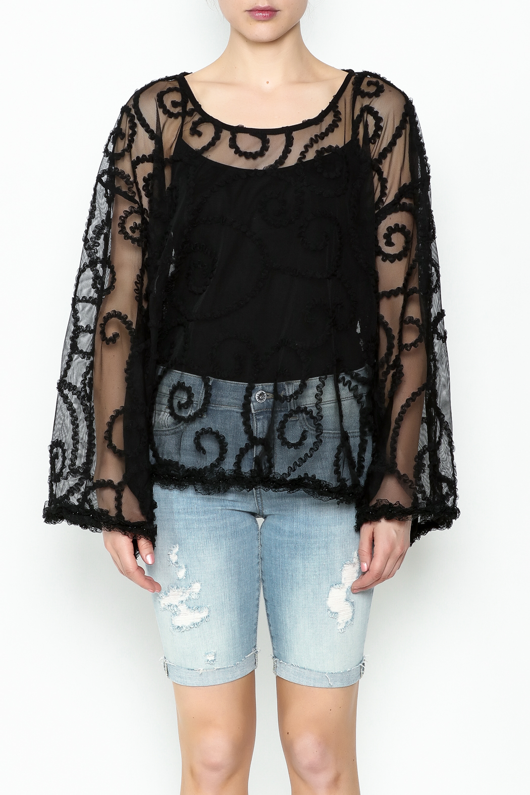 POL Sheer Paisley Top - Front Full Image