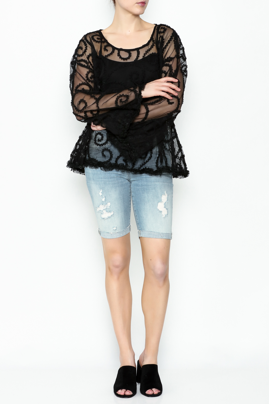 POL Sheer Paisley Top - Side Cropped Image