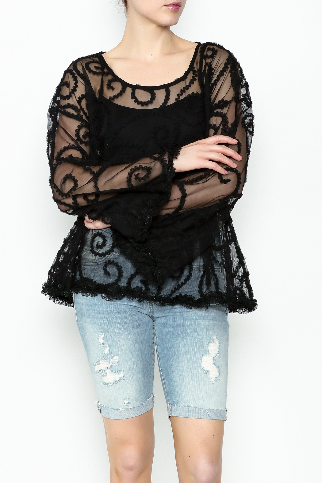 POL Sheer Paisley Top - Front Cropped Image