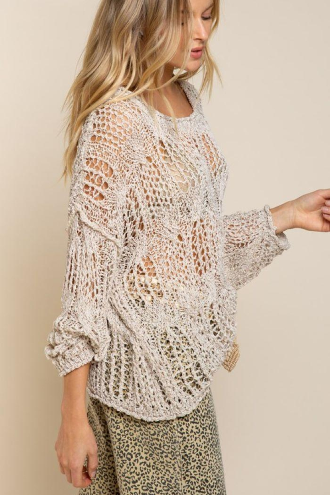 POL Simple Lightweight Sweater - Side Cropped Image