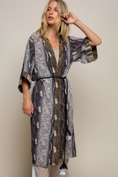 Shoptiques Product: Snake-Print Belted Duster