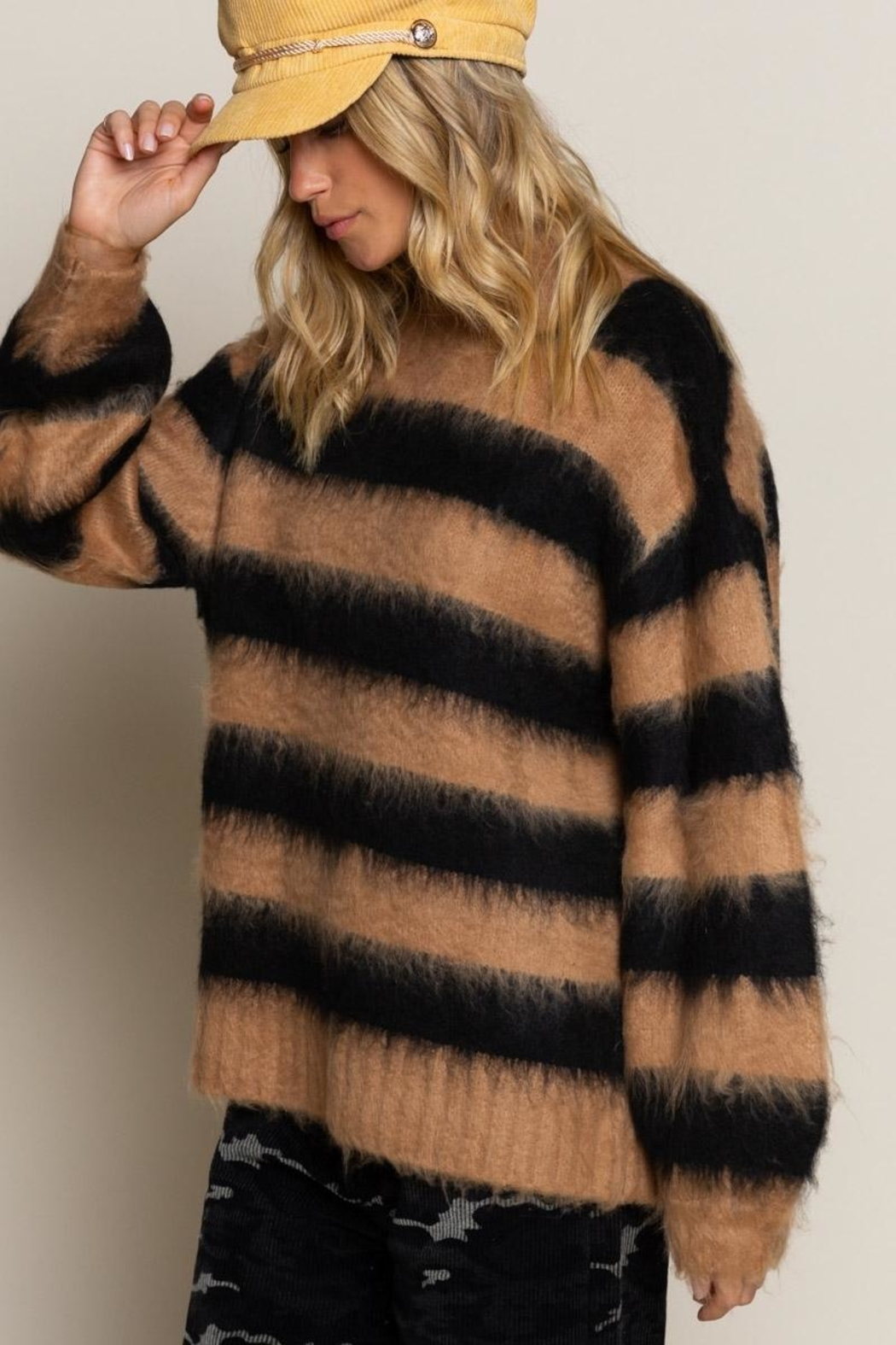 POL Striped Sweater - Front Full Image