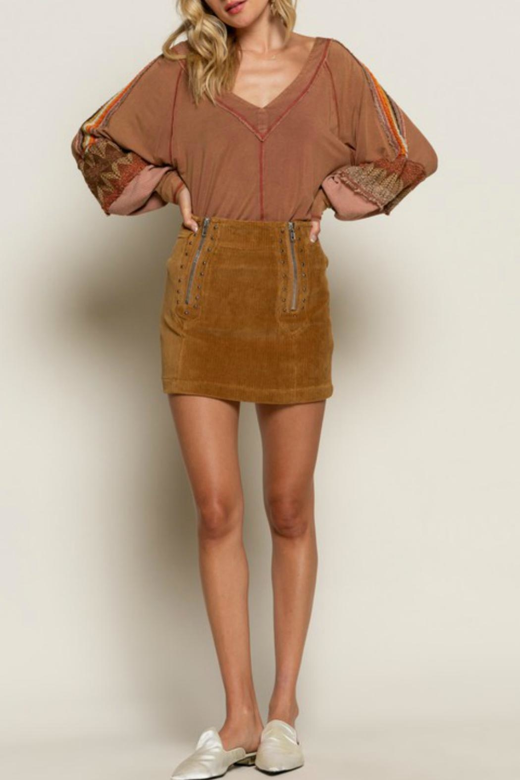 POL Studded Corduroy Mini - Front Cropped Image