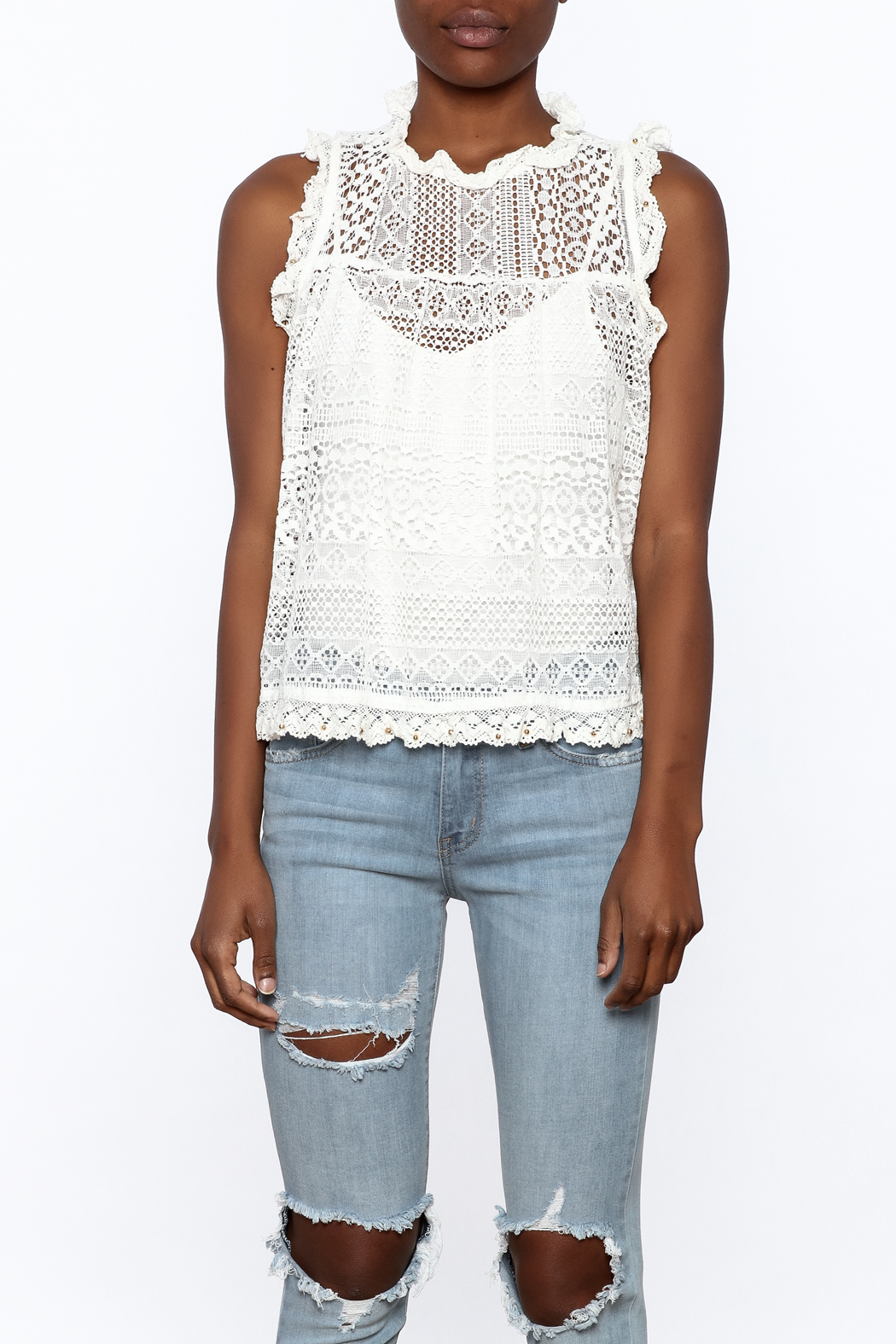 POL Stunning Lace Tank - Side Cropped Image
