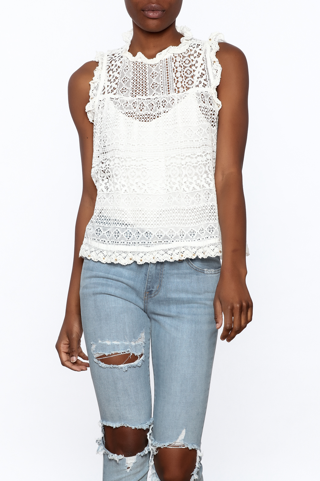 POL Stunning Lace Tank - Front Cropped Image