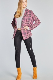 POL Tartan Plaid Double Breasted Jacket - Front full body
