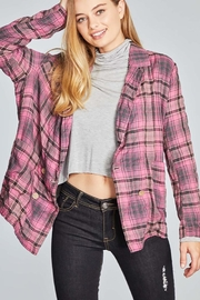 POL Tartan Plaid Double Breasted Jacket - Front cropped