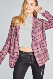 POL Tartan Plaid Double Breasted Jacket - Back cropped