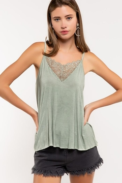 POL V-Camisole Tank With Front Lace Detail - Alternate List Image