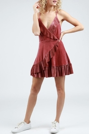 POL Velvet Lace Up Dress - Product Mini Image