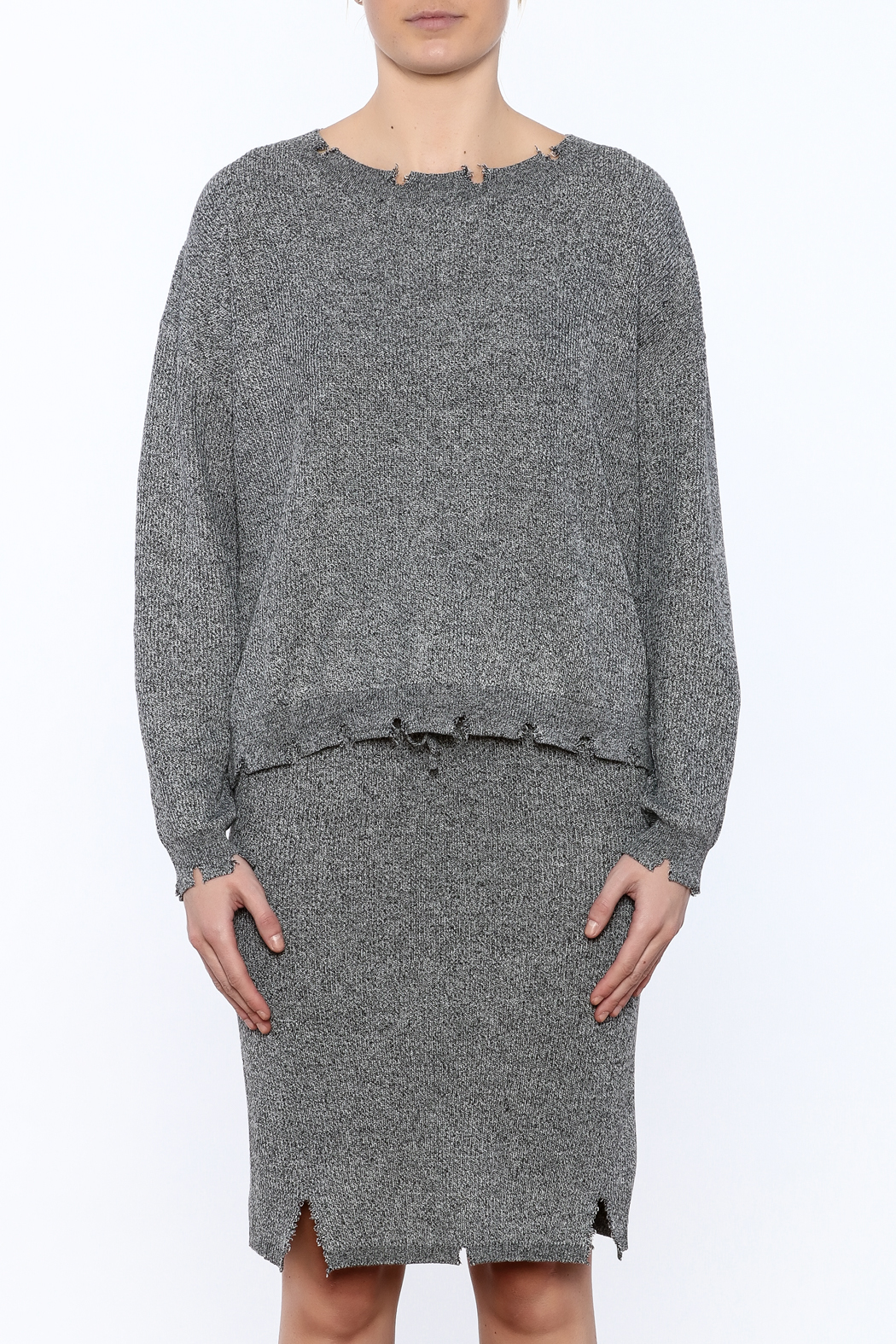 POL Waist Length Distressed Sweater - Side Cropped Image