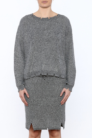 POL Waist Length Distressed Sweater - Side cropped