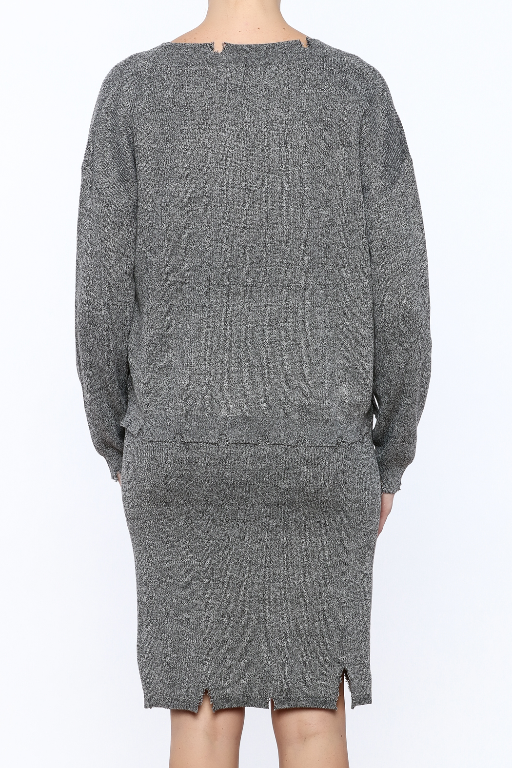 POL Waist Length Distressed Sweater - Back Cropped Image