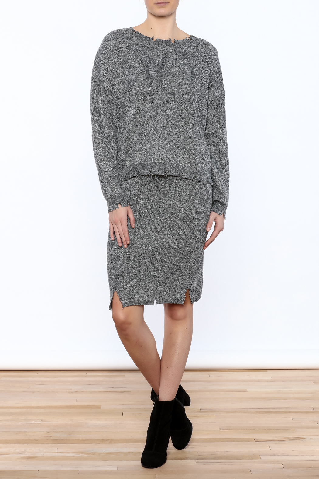 POL Waist Length Distressed Sweater - Front Full Image