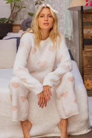 POL Berber White And Pink Heart Pullover - Front full body