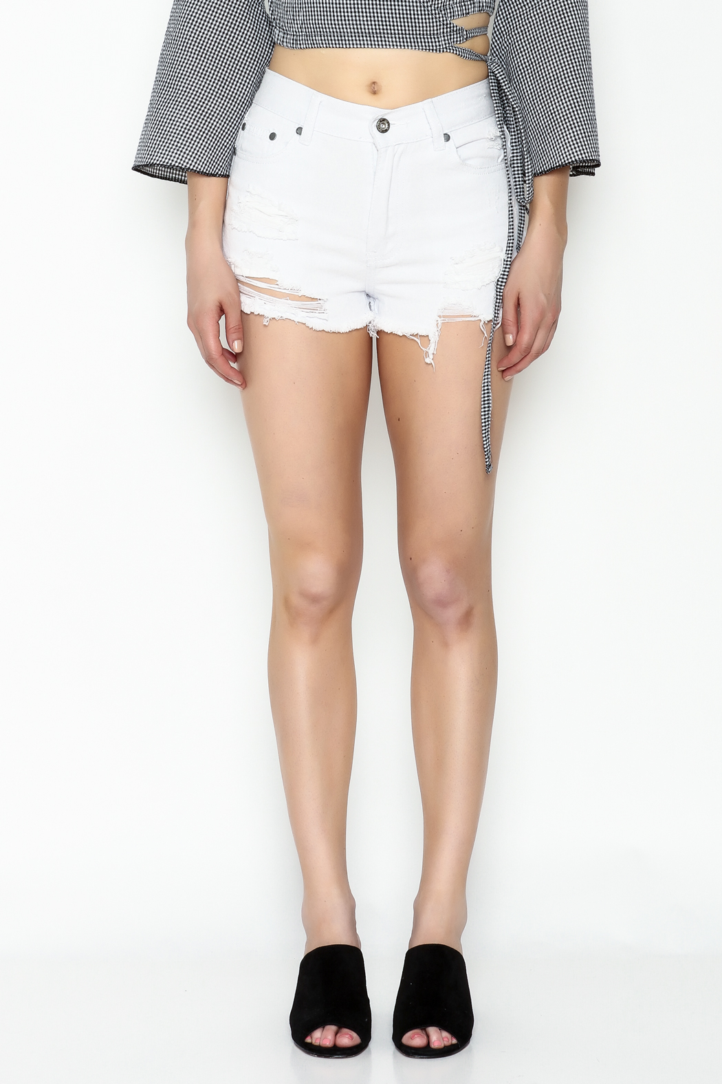 POL White Distressed Shorts - Front Full Image
