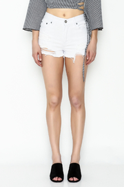 POL White Distressed Shorts - Front full body