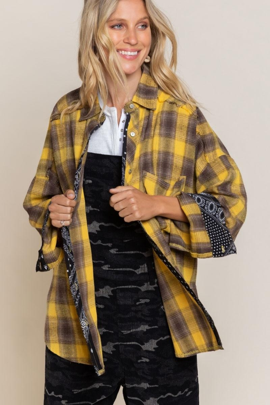 Pol clothing Button Down Oversize Shirt Top - Front Cropped Image