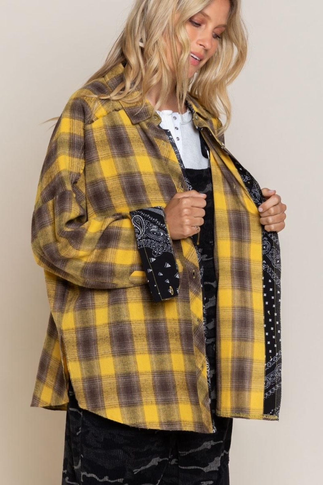 Pol clothing Button Down Oversize Shirt Top - Front Full Image