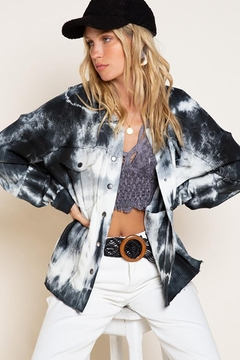Pol clothing Hand Dyed French Terry Knit Jacket - Product List Image