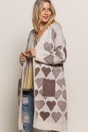 Pol clothing Long Sleeve Cable Knit Long Cardigan - Side cropped