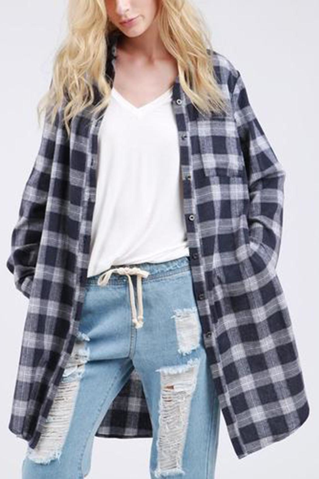 Pol clothing Navy Plaid Shirt - Main Image