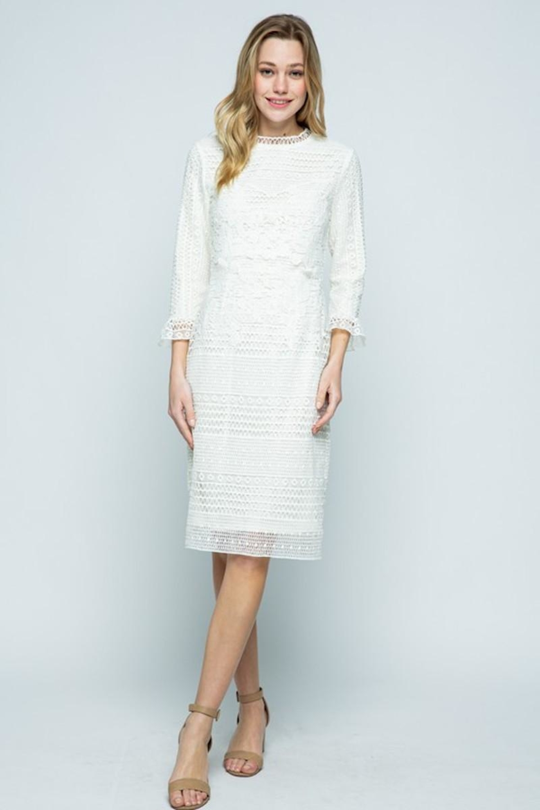 Polagram Ivory Classy Lace Midi - Front Cropped Image