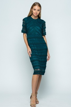 Polagram Teal Lace Midi Dress - Product List Image