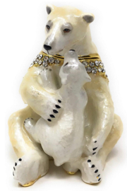 Kubla Crafts Polar Bear with Baby Trinket Box - Product Mini Image
