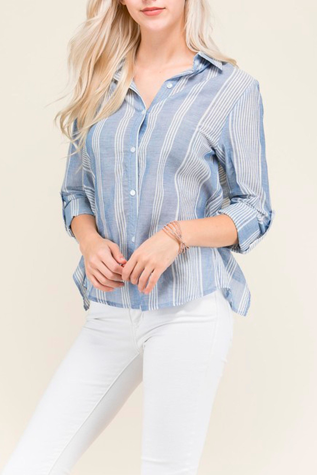 Polaroid Button Up Blouse - Front Cropped Image