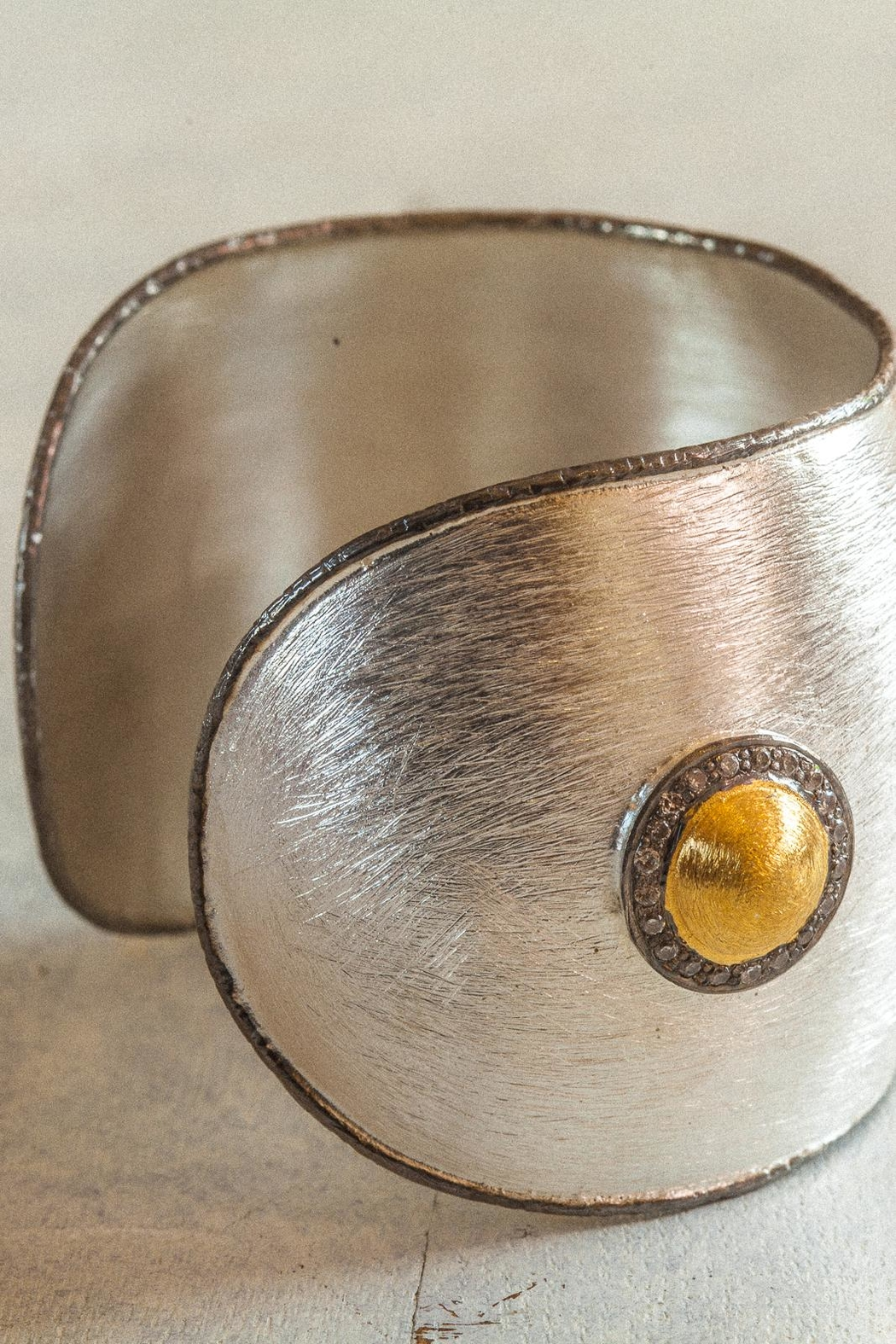 aaRaa Polished Silver Cuff - Front Full Image
