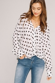 Main Strip Polka Dot Blouse - Product Mini Image