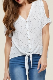 Staccato Polka Dot Cold-Shoulder - Front cropped