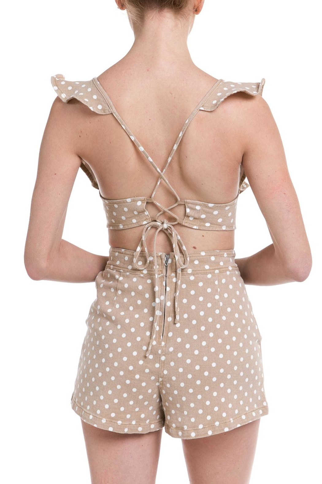 Do & Be Polka-Dot Denim Romper - Side Cropped Image
