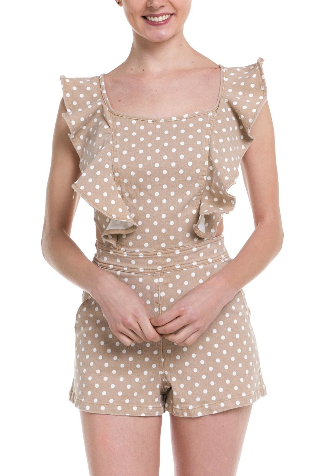 Do & Be Polka-Dot Denim Romper - Front Full Image