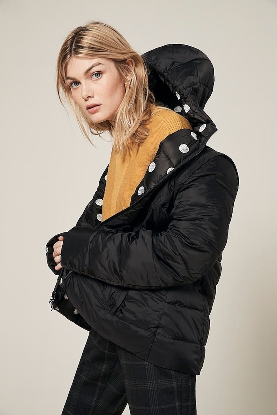 Charlie B. Polka Dot Four Way Puffer Jacket - Front Cropped Image